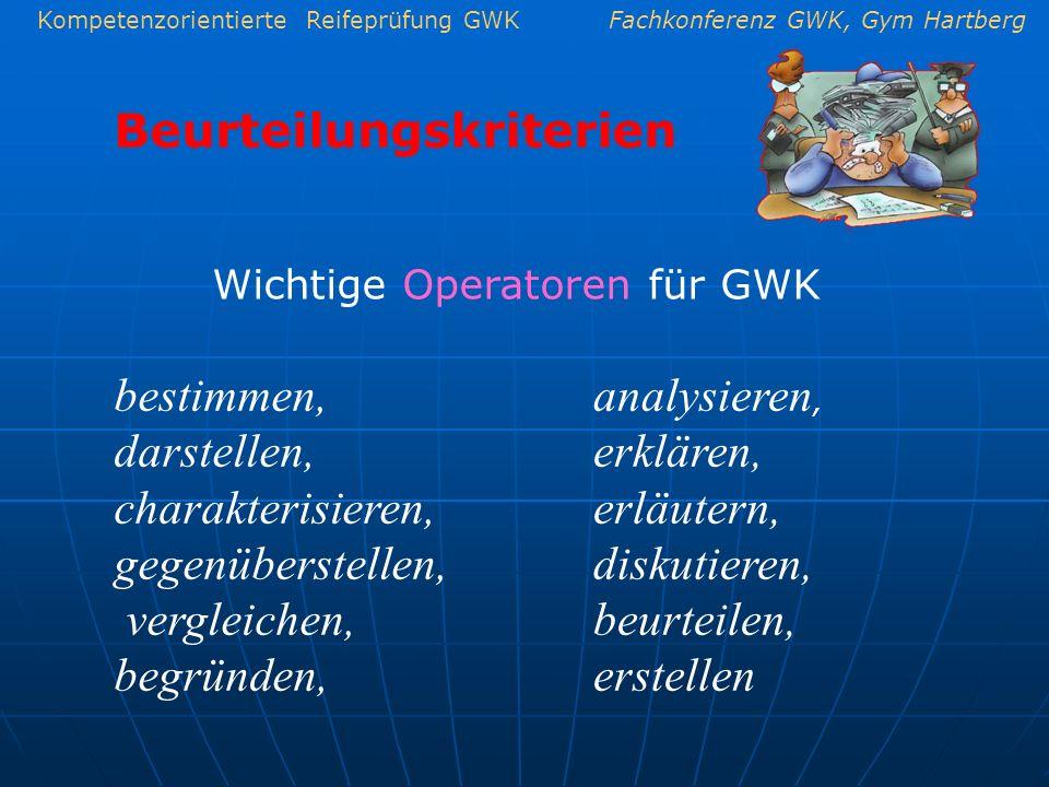 Kompetenzorientierte Reifeprüfung GWKFachkonferenz GWK, Gym Hartberg Beurteilungskriterien Wichtige Operatoren für GWK bestimmen, darstellen, charakte