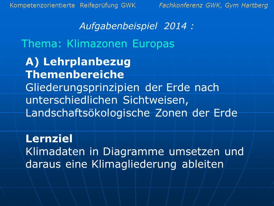 Kompetenzorientierte Reifeprüfung GWKFachkonferenz GWK, Gym Hartberg Thema: Klimazonen Europas Aufgabenbeispiel 2014 : A) Lehrplanbezug Themenbereiche