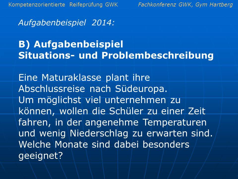 Kompetenzorientierte Reifeprüfung GWKFachkonferenz GWK, Gym Hartberg Aufgabenbeispiel 2014: B) Aufgabenbeispiel Situations- und Problembeschreibung Ei