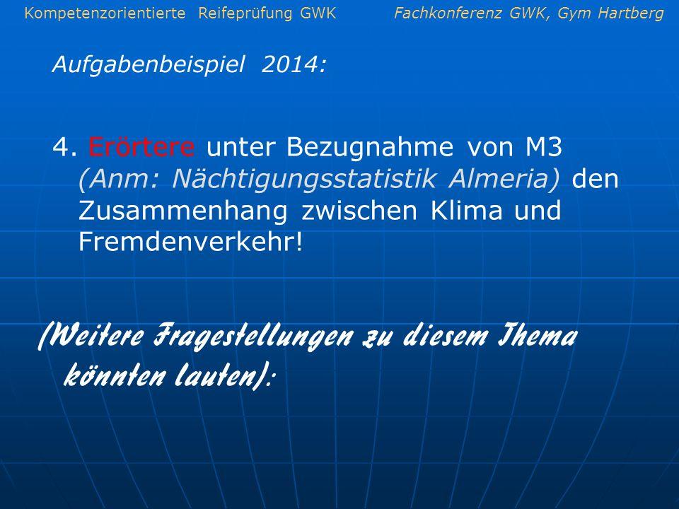Kompetenzorientierte Reifeprüfung GWKFachkonferenz GWK, Gym Hartberg Aufgabenbeispiel 2014: 4. Erörtere unter Bezugnahme von M3 (Anm: Nächtigungsstati