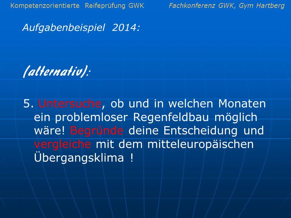 Kompetenzorientierte Reifeprüfung GWKFachkonferenz GWK, Gym Hartberg Aufgabenbeispiel 2014: 5. Untersuche, ob und in welchen Monaten ein problemloser