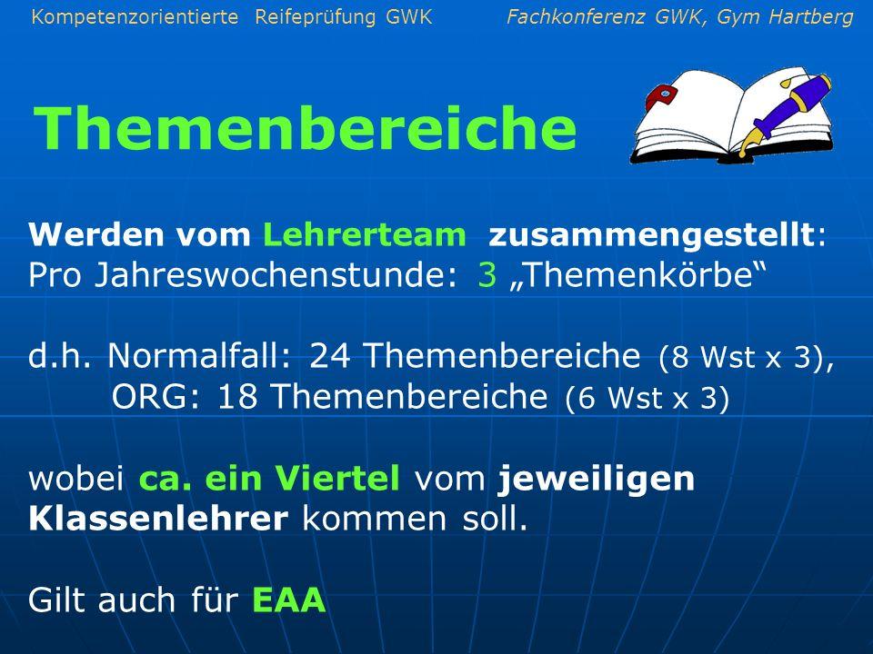Kompetenzorientierte Reifeprüfung GWKFachkonferenz GWK, Gym Hartberg Themenbereiche Werden vom Lehrerteam zusammengestellt: Pro Jahreswochenstunde: 3