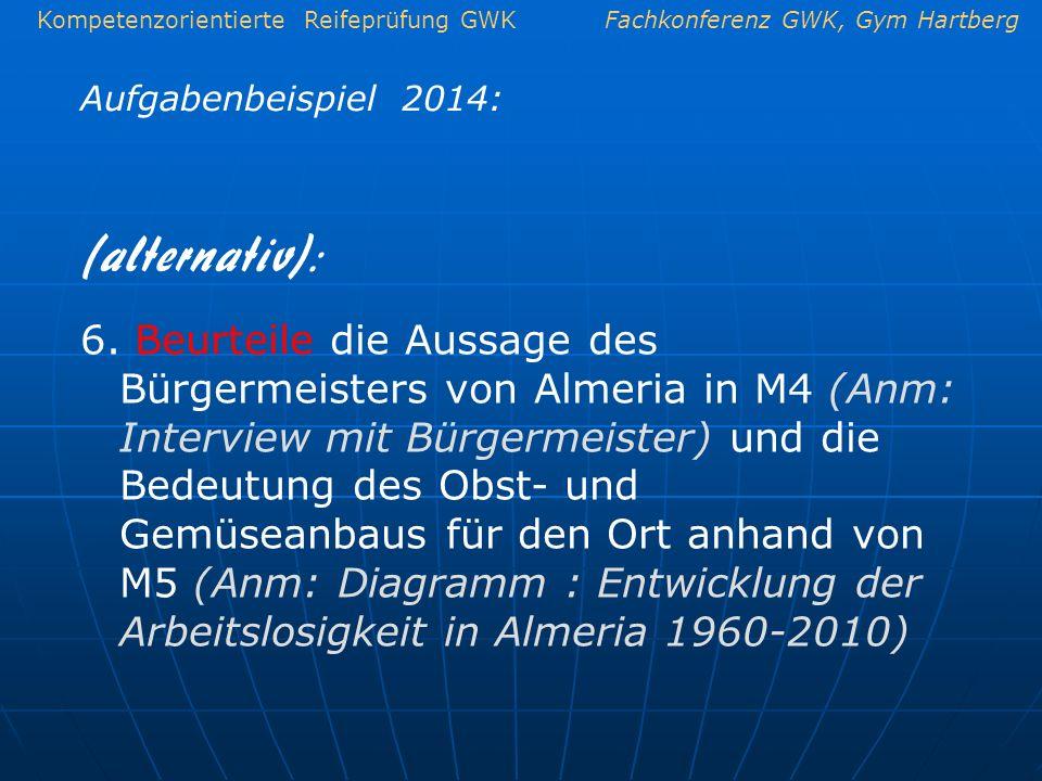 Kompetenzorientierte Reifeprüfung GWKFachkonferenz GWK, Gym Hartberg Aufgabenbeispiel 2014: 6. Beurteile die Aussage des Bürgermeisters von Almeria in
