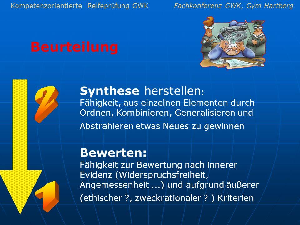 Kompetenzorientierte Reifeprüfung GWKFachkonferenz GWK, Gym Hartberg Beurteilung Synthese herstellen : Fähigkeit, aus einzelnen Elementen durch Ordnen