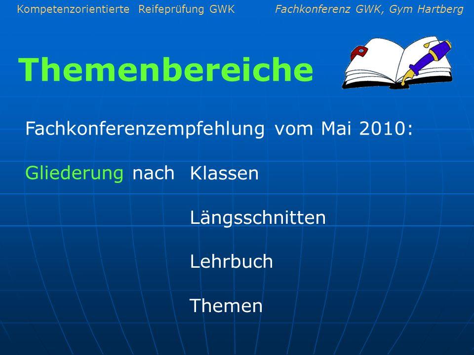 Kompetenzorientierte Reifeprüfung GWKFachkonferenz GWK, Gym Hartberg Fachkonferenzempfehlung vom Mai 2010: Gliederung nach Klassen Längsschnitten Lehr