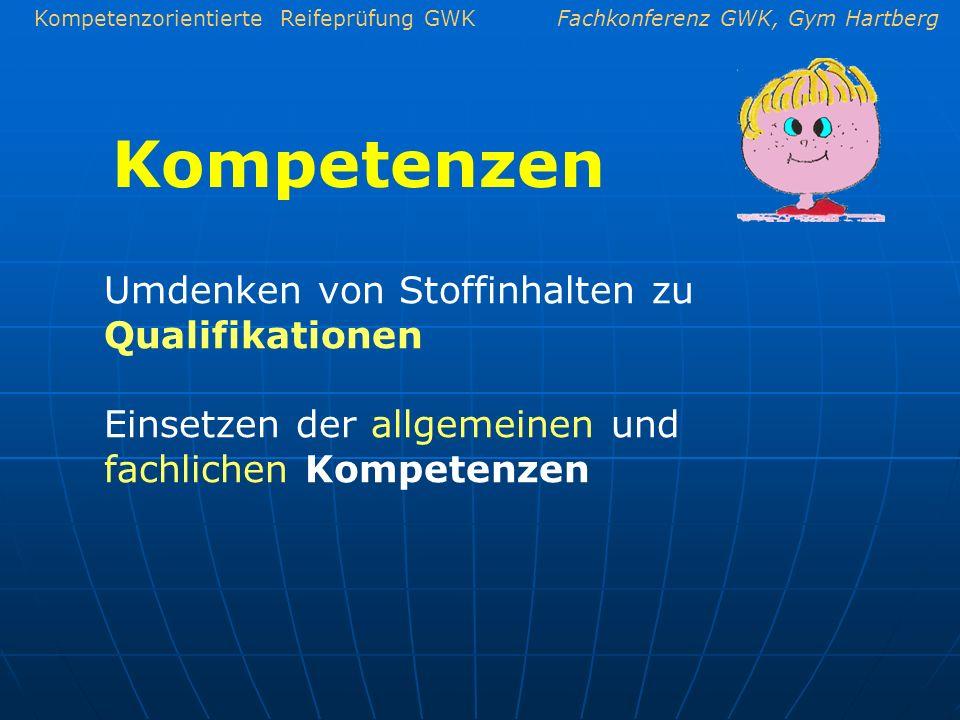 Kompetenzorientierte Reifeprüfung GWKFachkonferenz GWK, Gym Hartberg Kompetenzen Umdenken von Stoffinhalten zu Qualifikationen Einsetzen der allgemein