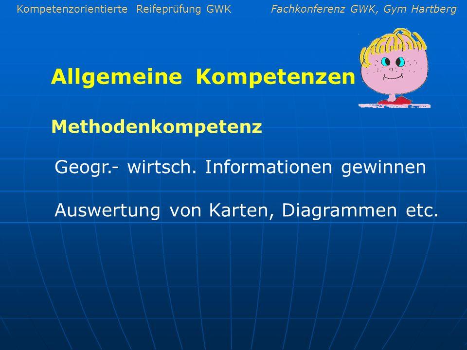 Kompetenzorientierte Reifeprüfung GWKFachkonferenz GWK, Gym Hartberg Allgemeine Kompetenzen Geogr.- wirtsch. Informationen gewinnen Auswertung von Kar