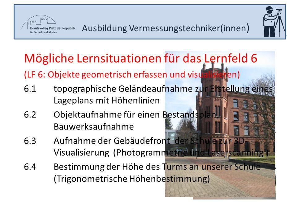 Ausbildung Vermessungstechniker(innen ) Mögliche Lernsituationen für das Lernfeld 6 (LF 6: Objekte geometrisch erfassen und visualisieren) 6.1topograp