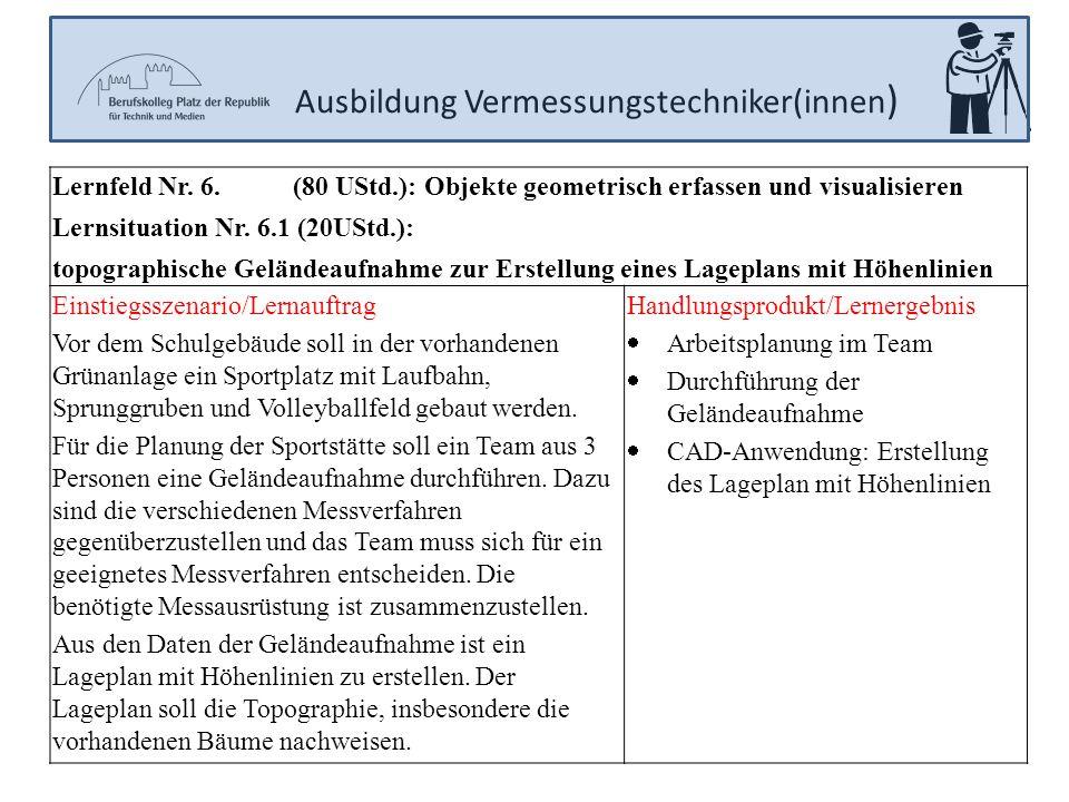 Ausbildung Vermessungstechniker(innen ) Lernfeld Nr. 6. (80 UStd.): Objekte geometrisch erfassen und visualisieren Lernsituation Nr. 6.1 (20UStd.): to