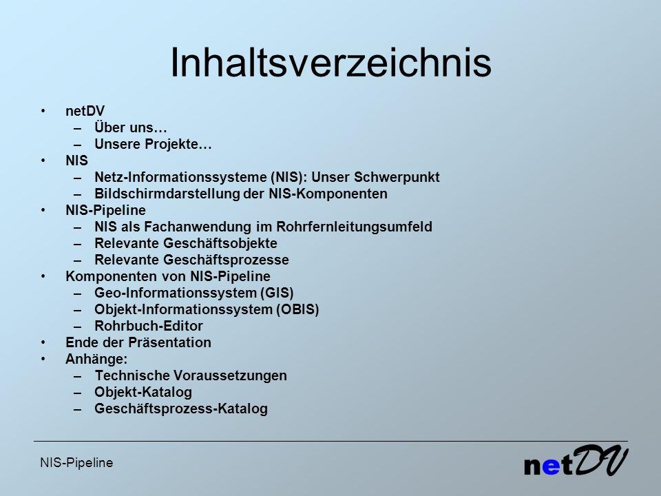 NIS-Pipeline Inhaltsverzeichnis netDV –Über uns… –Unsere Projekte… NIS –Netz-Informationssysteme (NIS): Unser Schwerpunkt –Bildschirmdarstellung der N