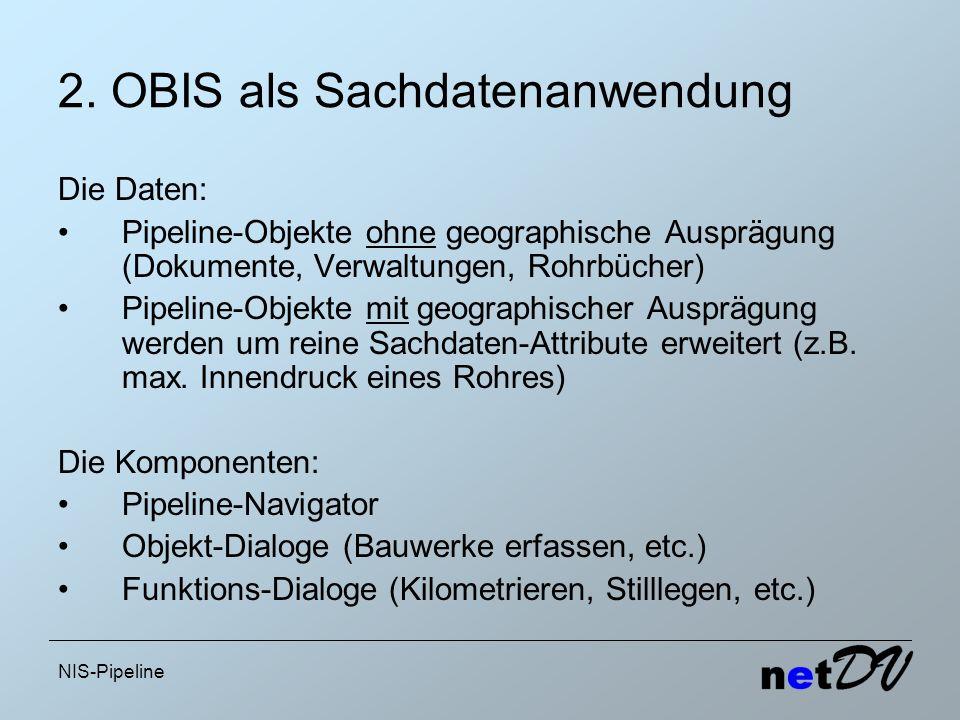 NIS-Pipeline 2. OBIS als Sachdatenanwendung Die Daten: Pipeline-Objekte ohne geographische Ausprägung (Dokumente, Verwaltungen, Rohrbücher) Pipeline-O