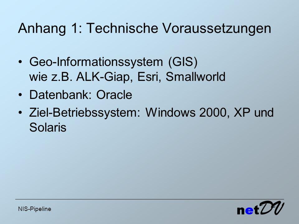 NIS-Pipeline Anhang 1: Technische Voraussetzungen Geo-Informationssystem (GIS) wie z.B. ALK-Giap, Esri, Smallworld Datenbank: Oracle Ziel-Betriebssyst