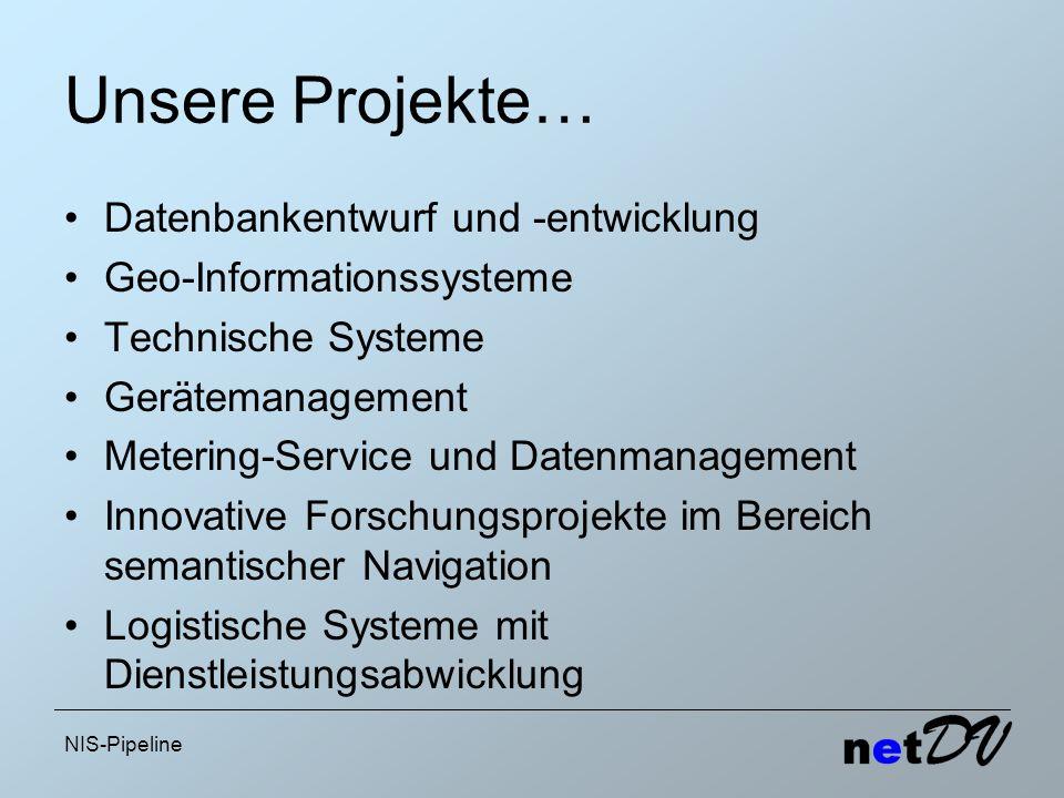 NIS-Pipeline Unsere Projekte… Datenbankentwurf und -entwicklung Geo-Informationssysteme Technische Systeme Gerätemanagement Metering-Service und Daten