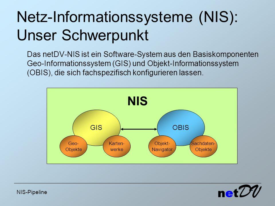 NIS-Pipeline Netz-Informationssysteme (NIS): Unser Schwerpunkt Das netDV-NIS ist ein Software-System aus den Basiskomponenten Geo-Informationssystem (