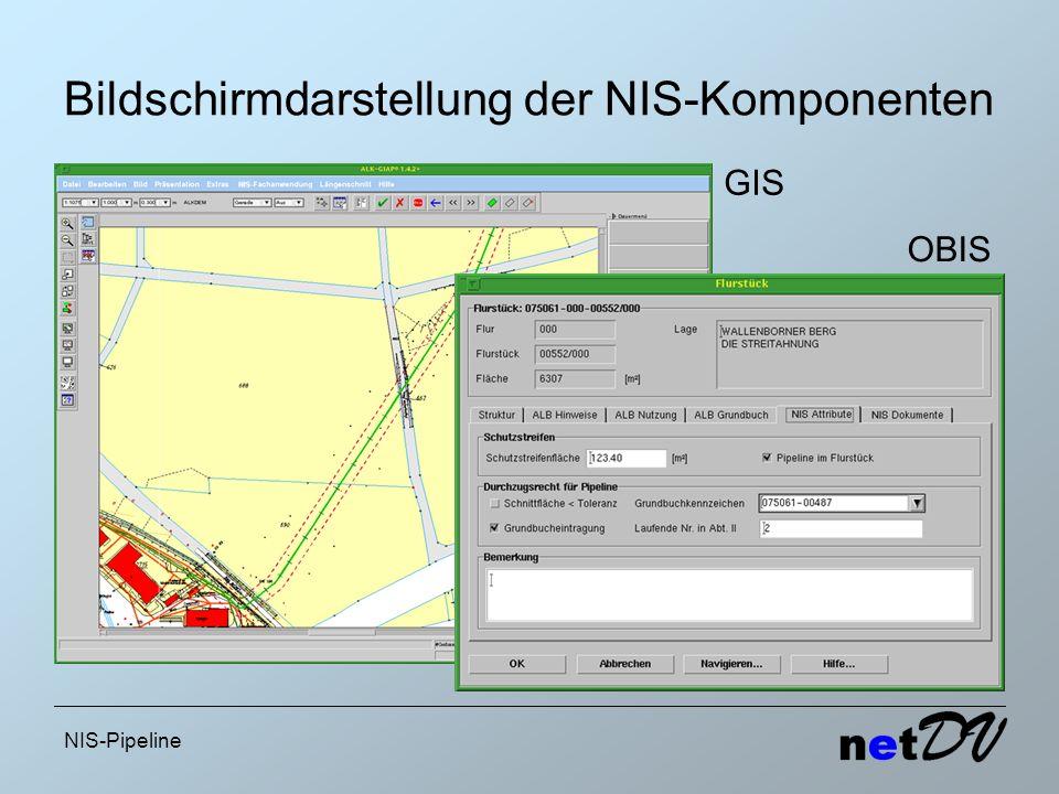NIS-Pipeline Bildschirmdarstellung der NIS-Komponenten GIS OBIS