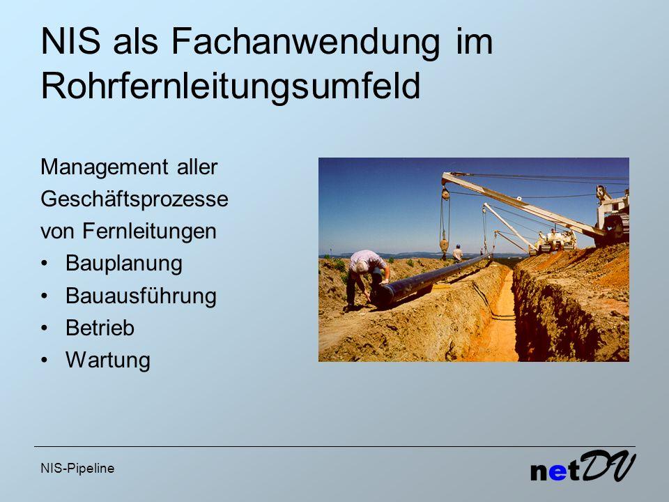 NIS-Pipeline NIS als Fachanwendung im Rohrfernleitungsumfeld Management aller Geschäftsprozesse von Fernleitungen Bauplanung Bauausführung Betrieb War
