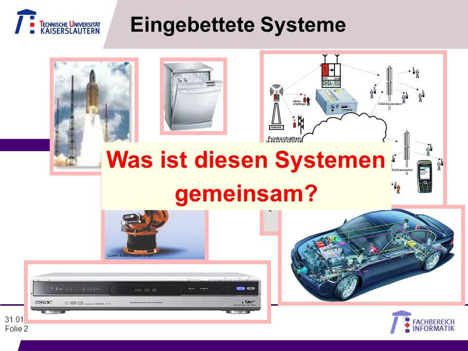 31.01.2012 Folie 2 Eingebettete Systeme Was ist diesen Systemen gemeinsam?