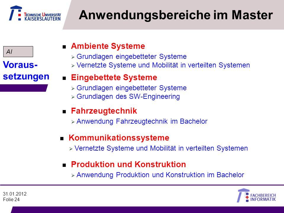 31.01.2012 Folie 24 Anwendungsbereiche im Master n Ambiente Systeme Grundlagen eingebetteter Systeme Vernetzte Systeme und Mobilität in verteilten Sys