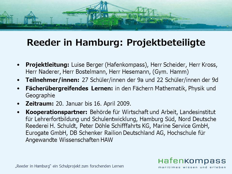 Reeder in Hamburg ein Schulprojekt zum forschenden Lernen Projektleitung: Luise Berger (Hafenkompass), Herr Scheider, Herr Kross, Herr Naderer, Herr B