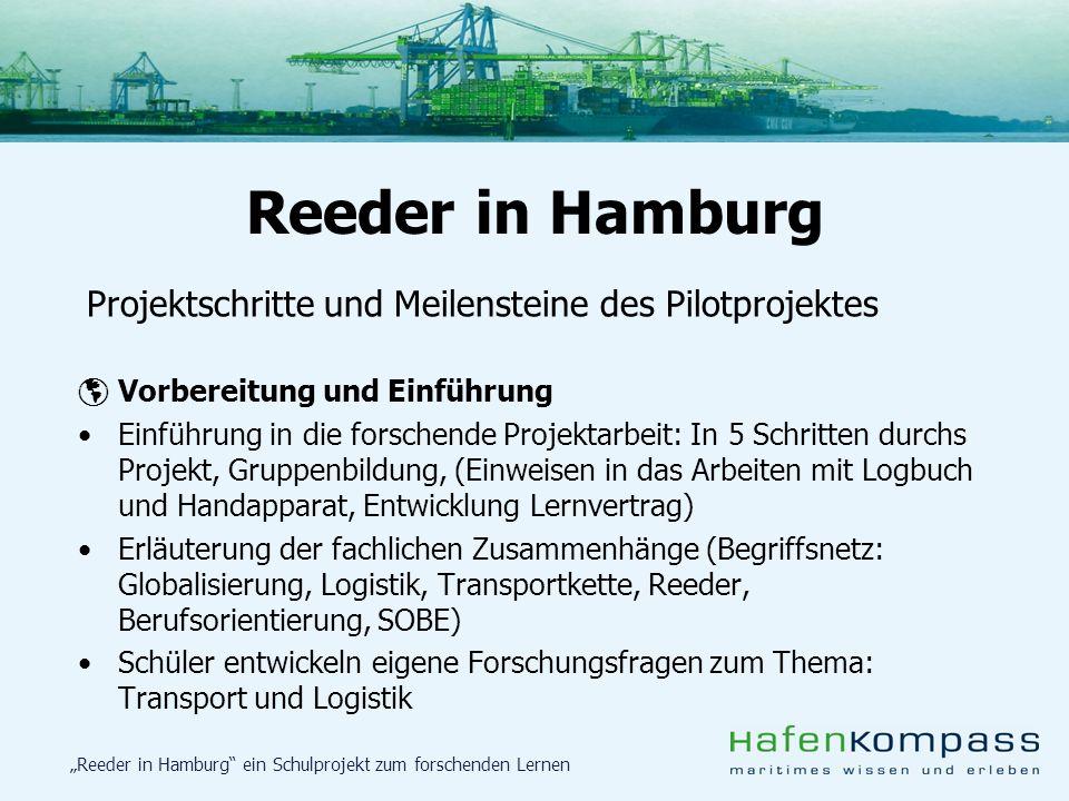 Reeder in Hamburg ein Schulprojekt zum forschenden Lernen Projektschritte und Meilensteine des Pilotprojektes Vorbereitung und Einführung Einführung i