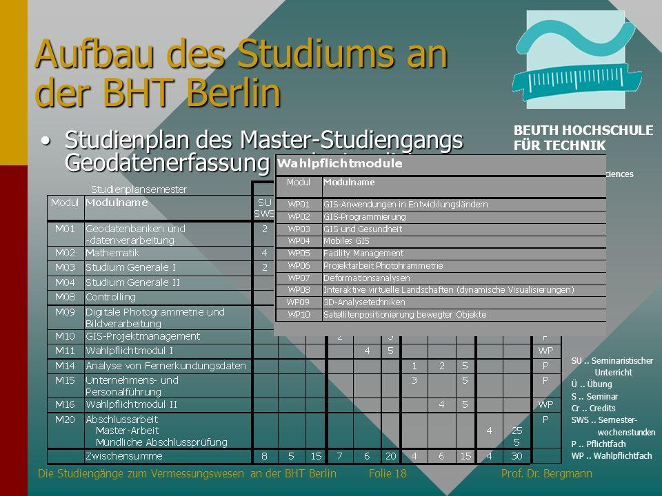 Studienplan des Master-Studiengangs Geodatenerfassung und -visualisierungStudienplan des Master-Studiengangs Geodatenerfassung und -visualisierung Auf