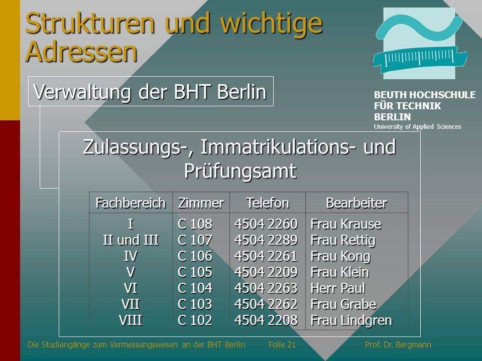 Strukturen und wichtige Adressen Verwaltung der BHT Berlin Zulassungs-, Immatrikulations- und Prüfungsamt FachbereichZimmerTelefonBearbeiter I II und