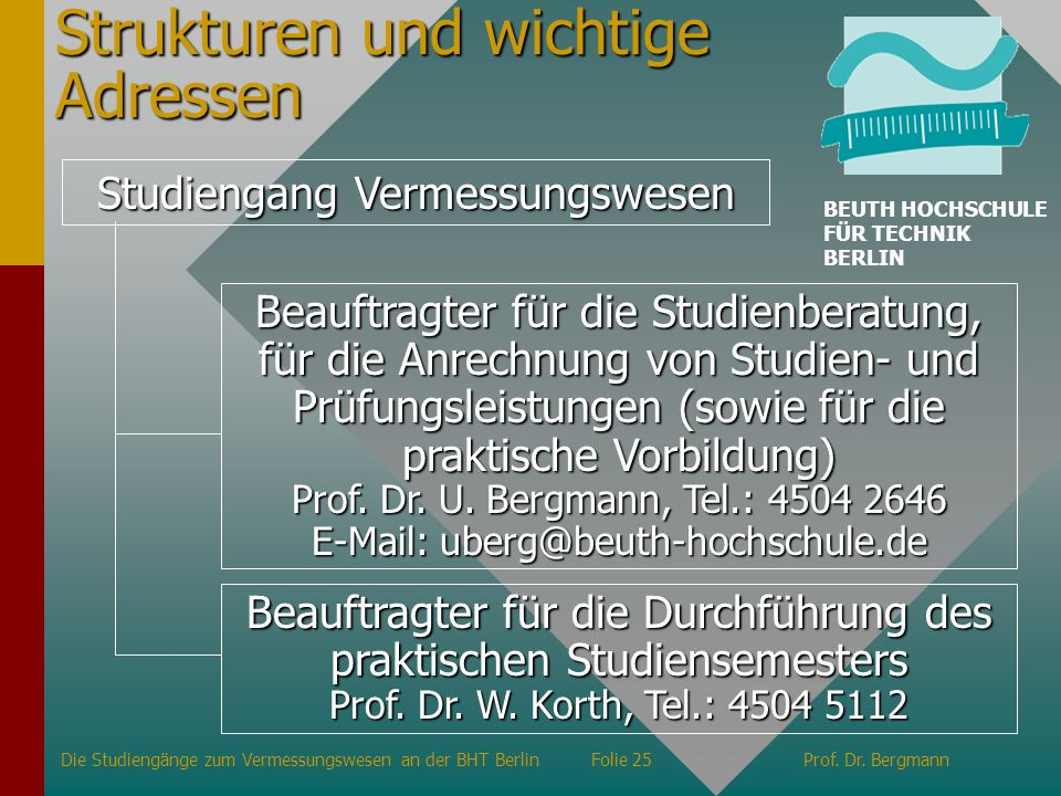 Strukturen und wichtige Adressen Studiengang Vermessungswesen Beauftragter für die Studienberatung, für die Anrechnung von Studien- und Prüfungsleistu