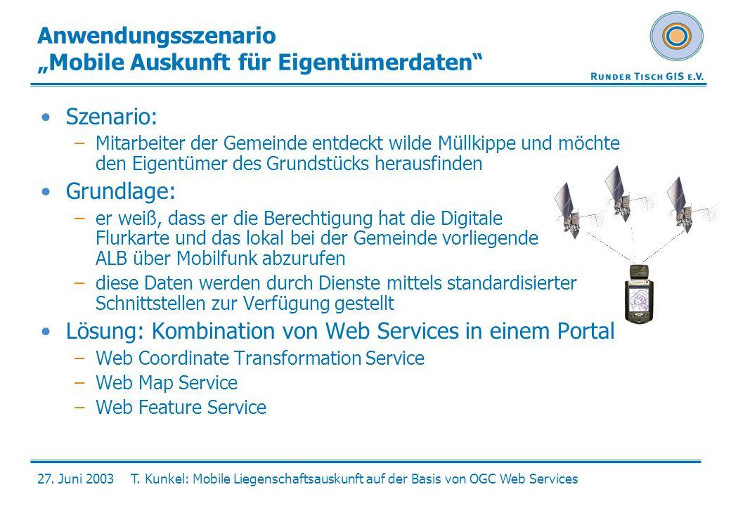 27. Juni 2003T. Kunkel: Mobile Liegenschaftsauskunft auf der Basis von OGC Web Services Anwendungsszenario Mobile Auskunft für Eigentümerdaten Szenari