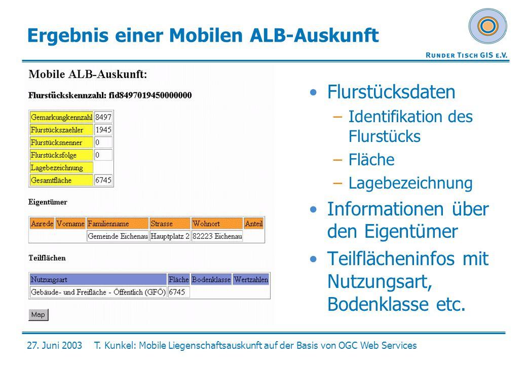 27. Juni 2003T. Kunkel: Mobile Liegenschaftsauskunft auf der Basis von OGC Web Services Ergebnis einer Mobilen ALB-Auskunft Flurstücksdaten –Identifik
