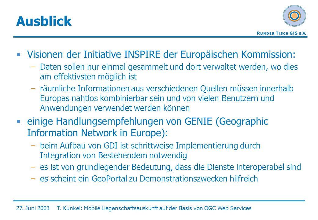 27. Juni 2003T. Kunkel: Mobile Liegenschaftsauskunft auf der Basis von OGC Web Services Ausblick Visionen der Initiative INSPIRE der Europäischen Komm
