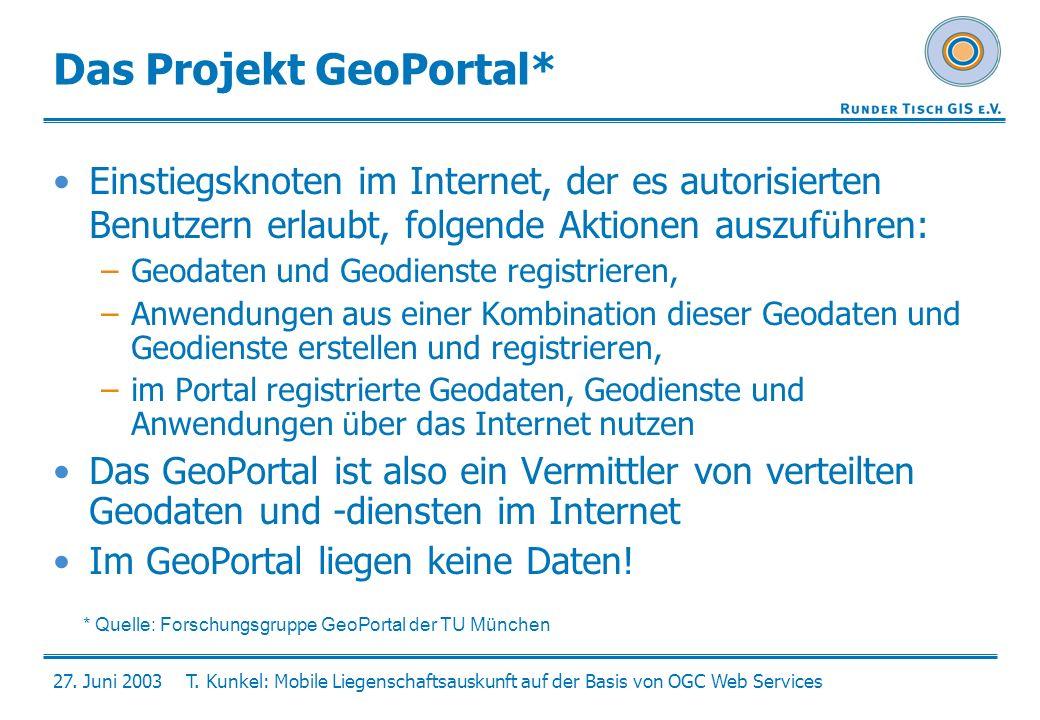 27. Juni 2003T. Kunkel: Mobile Liegenschaftsauskunft auf der Basis von OGC Web Services Das Projekt GeoPortal* Einstiegsknoten im Internet, der es aut