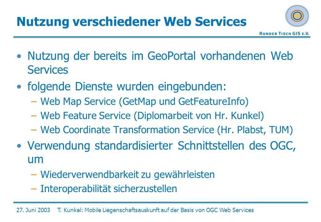 27. Juni 2003T. Kunkel: Mobile Liegenschaftsauskunft auf der Basis von OGC Web Services Nutzung verschiedener Web Services Nutzung der bereits im GeoP