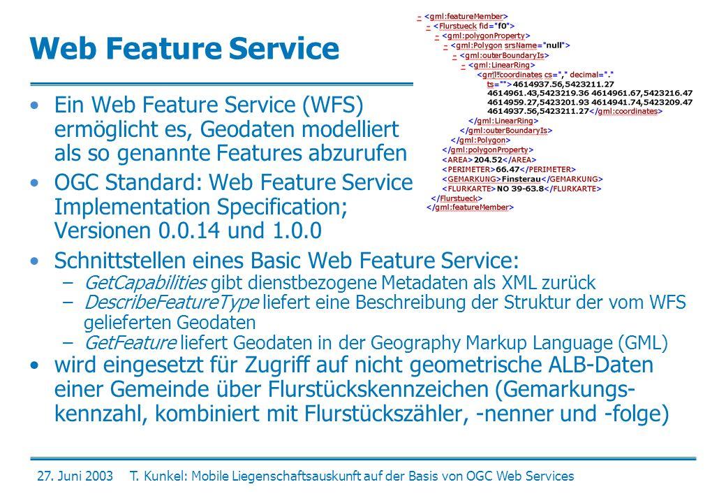 27. Juni 2003T. Kunkel: Mobile Liegenschaftsauskunft auf der Basis von OGC Web Services Web Feature Service Ein Web Feature Service (WFS) ermöglicht e