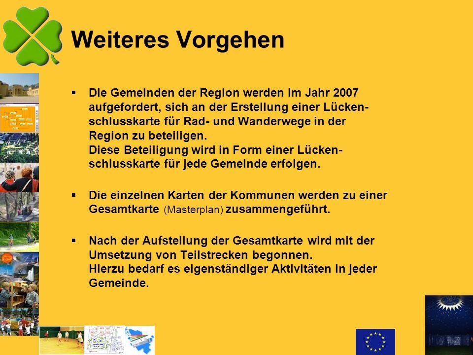 Weiteres Vorgehen Die Gemeinden der Region werden im Jahr 2007 aufgefordert, sich an der Erstellung einer Lücken- schlusskarte für Rad- und Wanderwege
