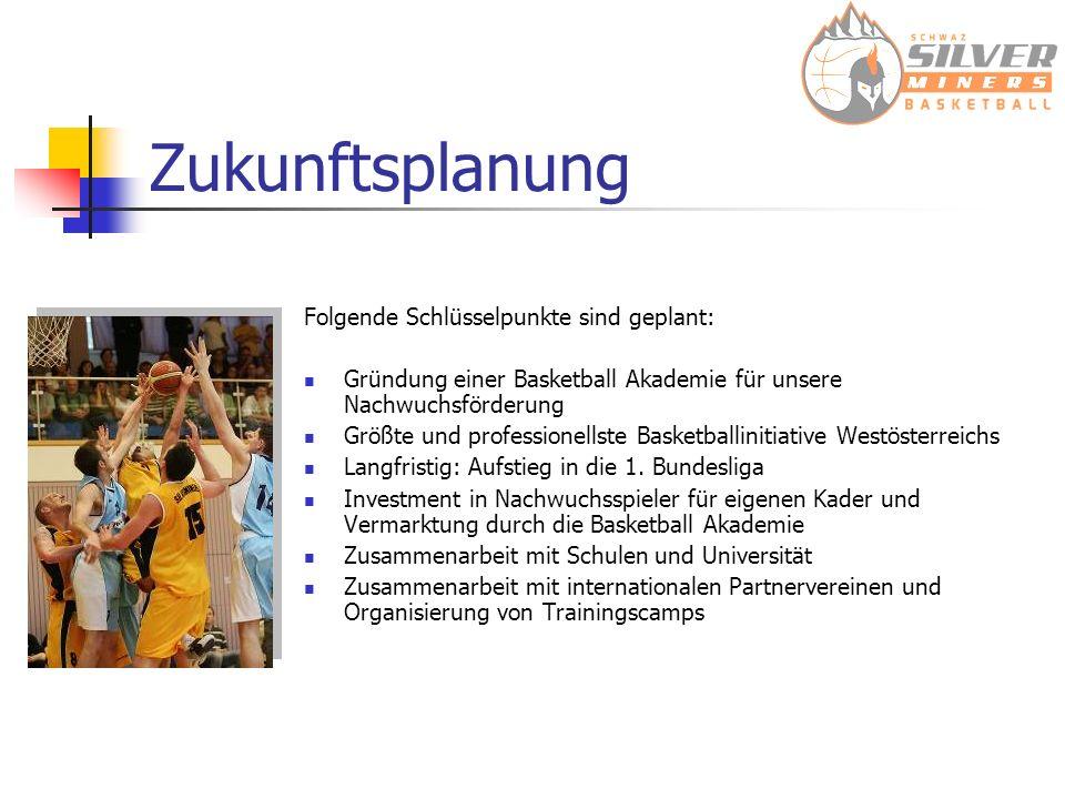 Zukunftsplanung Folgende Schlüsselpunkte sind geplant: Gründung einer Basketball Akademie für unsere Nachwuchsförderung Größte und professionellste Basketballinitiative Westösterreichs Langfristig: Aufstieg in die 1.