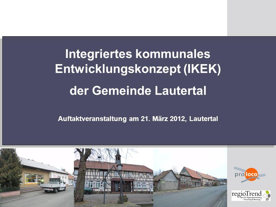 2 Übersicht 1.Projektteam 2.Zielsetzung des IKEK – gesamtkommunale Strategie für Lautertal 3.Demografischer Wandel 4.Ablauf und Vorgehensweise 5.Basis des IKEK – die Ortsteilebene 6.Mögliche Inhalte und Themen