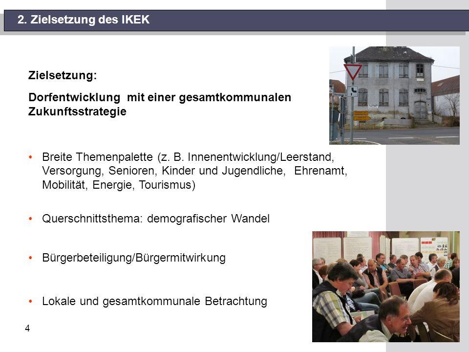 4 2. Zielsetzung des IKEK Zielsetzung: Dorfentwicklung mit einer gesamtkommunalen Zukunftsstrategie Breite Themenpalette (z. B. Innenentwicklung/Leers