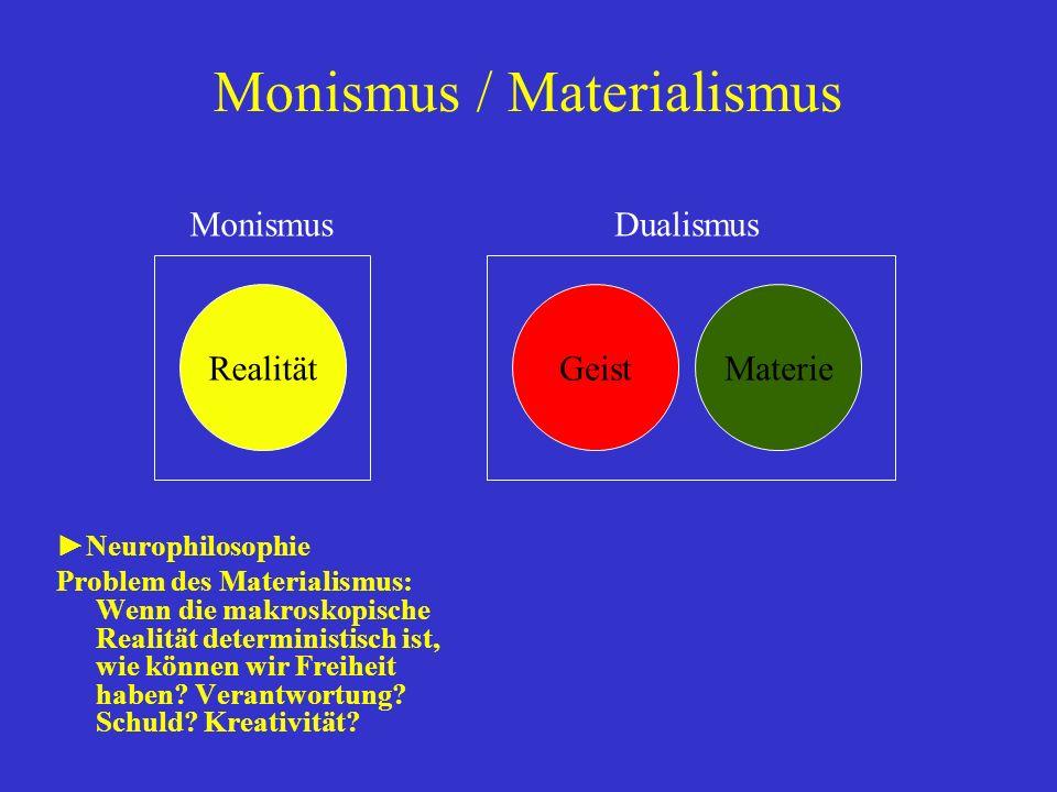Monismus / Materialismus Neurophilosophie Problem des Materialismus: Wenn die makroskopische Realität deterministisch ist, wie können wir Freiheit hab