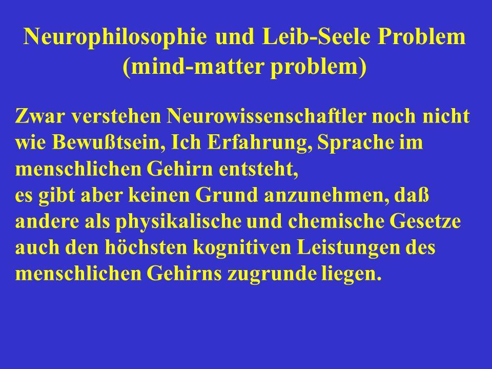 Zwar verstehen Neurowissenschaftler noch nicht wie Bewußtsein, Ich Erfahrung, Sprache im menschlichen Gehirn entsteht, es gibt aber keinen Grund anzun