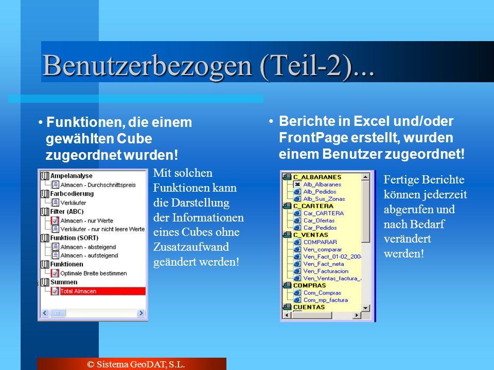 © Sistema GeoDAT, S.L. Benutzerbezogen (Teil-2)... Funktionen, die einem gewählten Cube zugeordnet wurden! Berichte in Excel und/oder FrontPage erstel