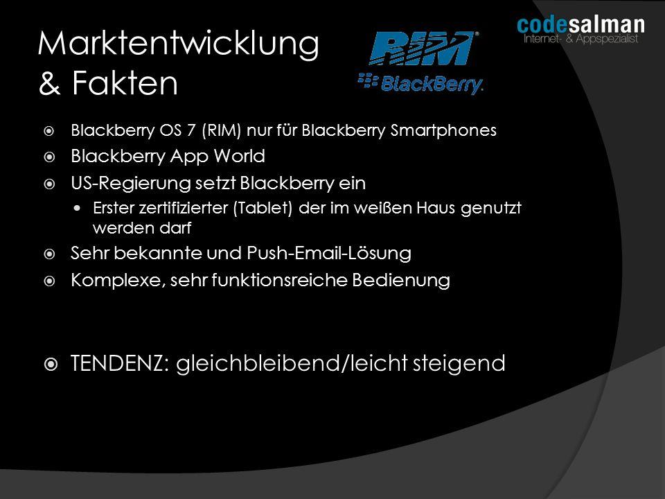 Blackberry OS 7 (RIM) nur für Blackberry Smartphones Blackberry App World US-Regierung setzt Blackberry ein Erster zertifizierter (Tablet) der im weiß