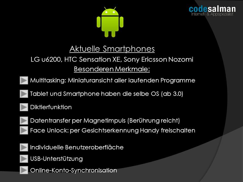Aktuelle Smartphones LG u6200, HTC Sensation XE, Sony Ericsson Nozomi Besonderen Merkmale: Multitasking: Miniaturansicht aller laufenden Programme Tab