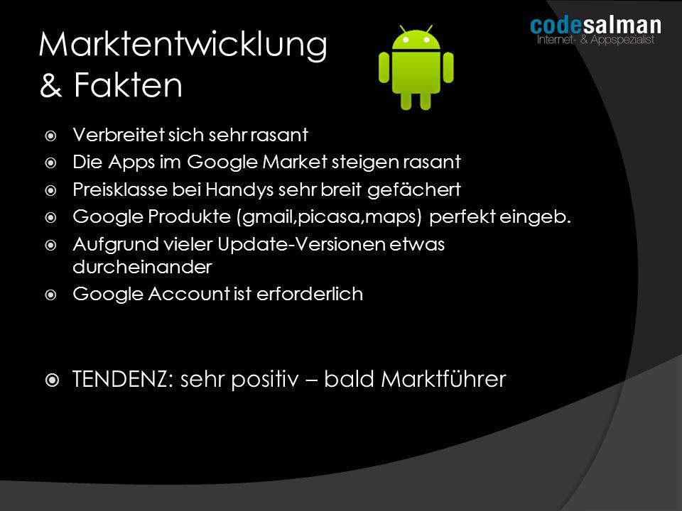 Verbreitet sich sehr rasant Die Apps im Google Market steigen rasant Preisklasse bei Handys sehr breit gefächert Google Produkte (gmail,picasa,maps) p