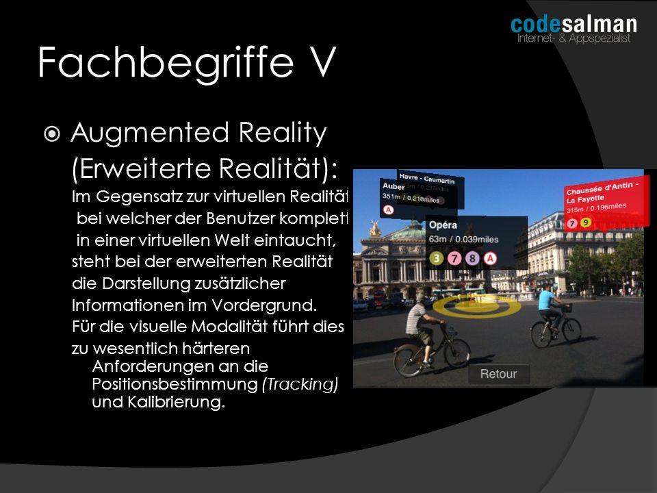 Fachbegriffe V Augmented Reality (Erweiterte Realität): Im Gegensatz zur virtuellen Realität, bei welcher der Benutzer komplett in einer virtuellen We