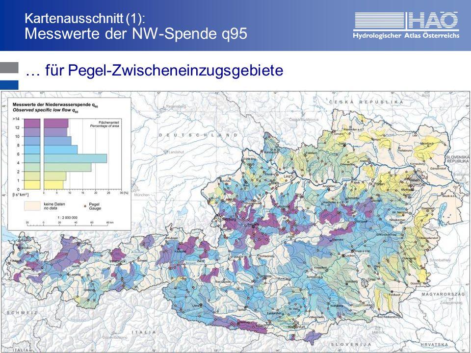 Kartenausschnitt (1): Messwerte der NW-Spende q95 … für Pegel-Zwischeneinzugsgebiete
