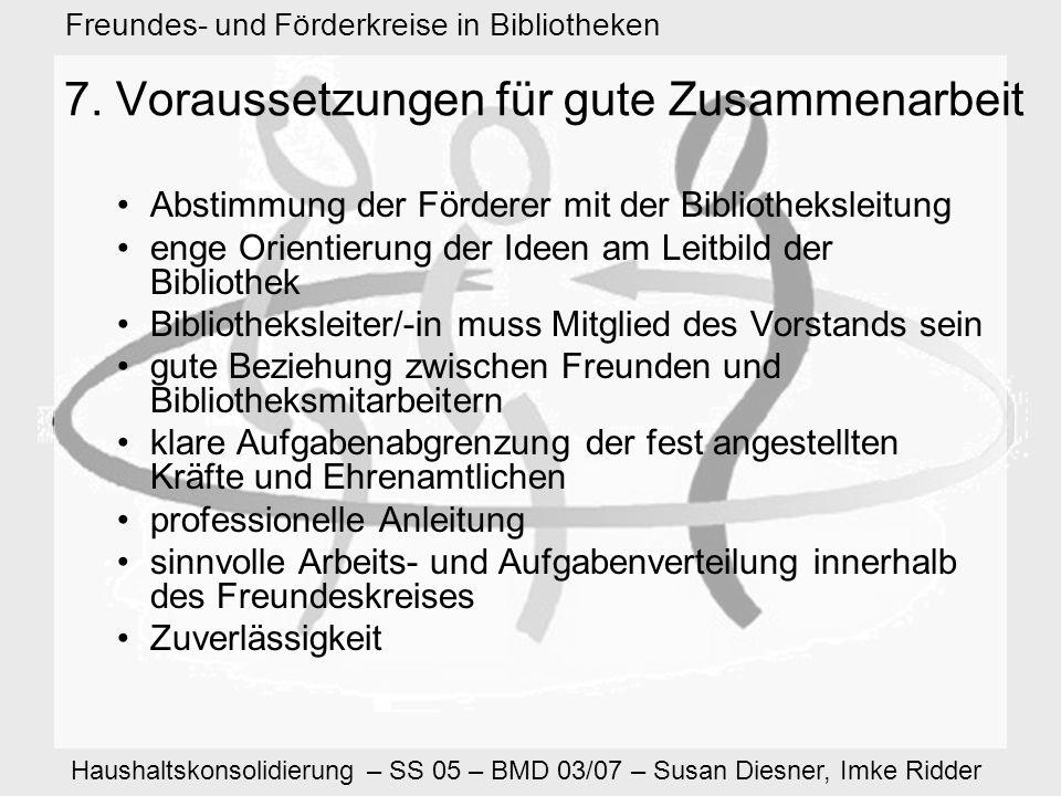 Haushaltskonsolidierung – SS 05 – BMD 03/07 – Susan Diesner, Imke Ridder Freundes- und Förderkreise in Bibliotheken 7.