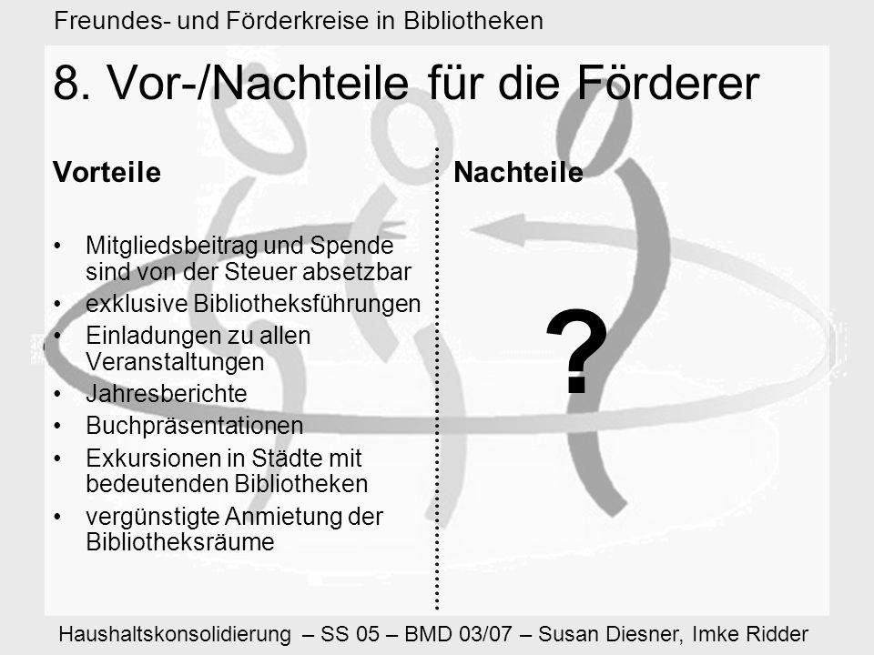 Haushaltskonsolidierung – SS 05 – BMD 03/07 – Susan Diesner, Imke Ridder Freundes- und Förderkreise in Bibliotheken 8.