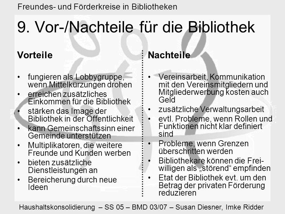 Haushaltskonsolidierung – SS 05 – BMD 03/07 – Susan Diesner, Imke Ridder Freundes- und Förderkreise in Bibliotheken 9.