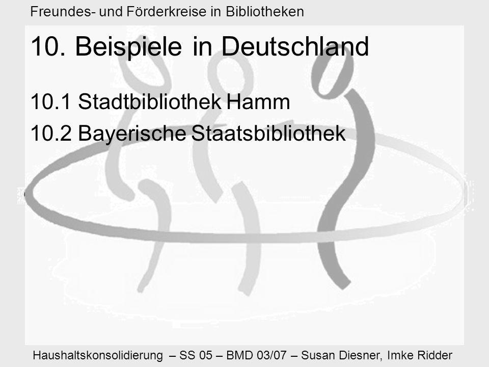 Haushaltskonsolidierung – SS 05 – BMD 03/07 – Susan Diesner, Imke Ridder Freundes- und Förderkreise in Bibliotheken 10.