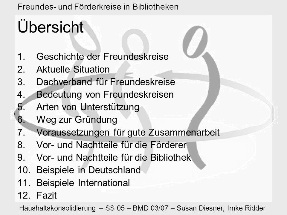 Haushaltskonsolidierung – SS 05 – BMD 03/07 – Susan Diesner, Imke Ridder Freundes- und Förderkreise in Bibliotheken 1.